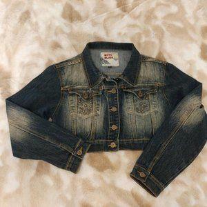 MOTO Blues Studded Cropped Denim Jacket - Large